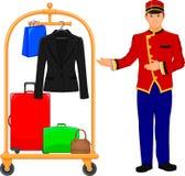 Serviço de hotel do mandarete e trole da bagagem Fotografia de Stock Royalty Free