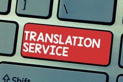 Serviço de tradução da escrita do texto da escrita Conceito que significa a língua de alvo equivalente da língua materna foto de stock