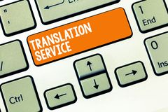 Serviço de tradução da escrita do texto da escrita Conceito que significa a língua de alvo equivalente da língua materna imagem de stock