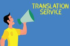 Serviço de tradução do texto da escrita da palavra Conceito do negócio para a língua de alvo equivalente da língua materna foto de stock royalty free