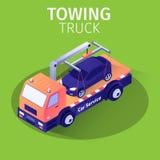 Serviço do auxílio do caminhão de reboque para a evacuação do carro ilustração stock
