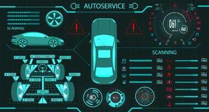 Serviço do carro Alinhamento de roda diagnóstico do suporte Painel digital do carro do carro Exposição gráfica Ilustração ilustração stock