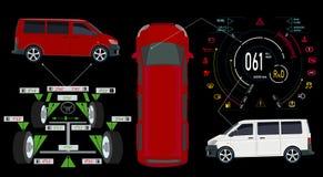 Serviço do carro barra-ônibus Painel automotivo de Digitas de um carro moderno Exposição gráfica, alinhamento de roda dos diagnós ilustração stock