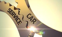 Serviço do carro em rodas denteadas douradas 3d Fotos de Stock