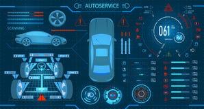 Serviço do carro exploração Alinhamento diagnóstico das rodas Painel digital do carro do carro Exposição gráfica Ilustração ilustração royalty free