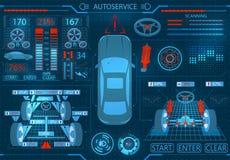 Serviço do carro exploração Relação gráfica Alinhamento diagnóstico das rodas Verificação dos amortecedores, sistema de freio ilustração royalty free