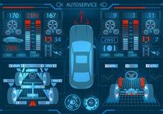 Serviço do carro exploração Relação gráfica Elipticidade e alinhamento das rodas Verificação dos amortecedores, freio ilustração stock
