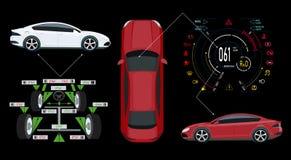 Serviço do carro Painel automotivo de Digitas de um carro moderno Exposição gráfica, alinhamento de roda dos diagnósticos Ilustra ilustração do vetor