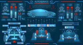 Serviço do carro Relação gráfica Alinhamento diagnóstico das rodas Verificação dos amortecedores, o mecanismo de direção ilustração royalty free