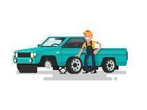 Serviço do pneu Mudança do trabalhador um pneu puncionado no carro Vetor ilustração stock