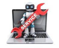 Serviço do robô e reparo do portátil ilustração do vetor