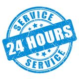 Serviço do selo da tinta azul 24 horas Imagens de Stock