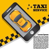 Serviço do táxi sob a forma de uma aplicação móvel Foto de Stock Royalty Free
