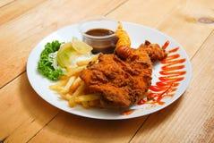 Serviço do tempura da galinha na placa Imagem de Stock Royalty Free