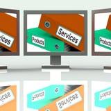 Serviço e mercadoria de show business da tela dos produtos dos serviços Foto de Stock