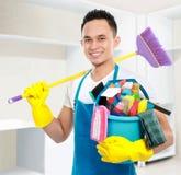 Serviço masculino da limpeza Foto de Stock