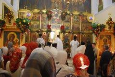 Serviço na igreja ortodoxa Oração priest Fotografia de Stock