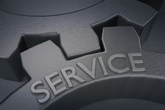 Serviço nas engrenagens do metal em Grey Background rendição 3d Imagens de Stock