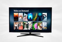 Serviço por encomenda video de VOD na tevê esperta fotos de stock