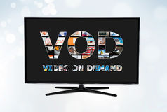 Serviço por encomenda video de VOD na tevê esperta Foto de Stock