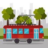 Serviço retro do transporte do bonde urbano ilustração stock