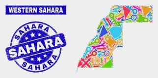 Serviço Sahara Map ocidental e Sahara Seal riscada da colagem ilustração stock