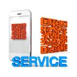 Serviço telefónico do móbil de QRcode Foto de Stock