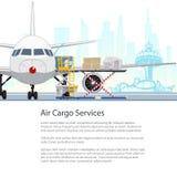 Serviços da carga aérea e frete, projeto do folheto ilustração do vetor