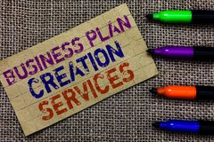 Serviços da criação do plano de negócios da escrita do texto da escrita Significado do conceito que paga pelo profissional para c foto de stock