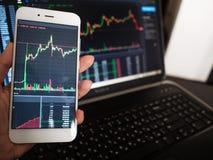 serviços da Cruz-plataforma para investimentos nas moedas e nas seguranças O usu?rio monitora o mercado de seguran?as imagens de stock