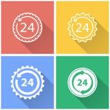 24 serviços da hora - ícone do vetor Imagens de Stock