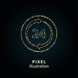 24 serviços da hora - ilustração do pixel Foto de Stock Royalty Free