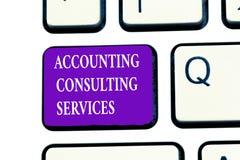 Serviços de consultadoria da contabilidade do texto da escrita da palavra Conceito do negócio para balanços financeiros ofPeriodi imagem de stock