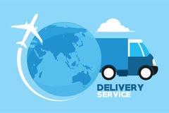 Serviços de entrega através do mundo Fotografia de Stock Royalty Free