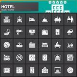 Serviços de hotel e ícones ajustados, coleção contínua moderna do vetor das facilidades do símbolo, bloco branco enchido do picto ilustração do vetor