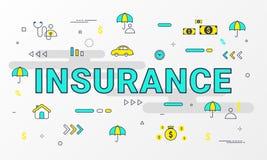 Serviços de seguro infographic Linha lisa conceito dos ícones do estilo tal como a casa, a propriedade, a saúde, a vida, a renda, ilustração do vetor