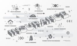 Serviços de seguro infographic Linha lisa conceito dos ícones do estilo tal como a casa, a propriedade, a saúde, a vida, a renda, ilustração stock