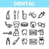 Serviços dentais, grupo linear dos ícones do vetor do Stomatology ilustração royalty free