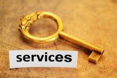 Serviços e conceito chave foto de stock