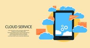 Serviços modernos da nuvem e conceito de computação dos elementos da nuvem Dispositivos conectados à nuvem com as engrenagens Ilu Fotografia de Stock