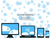 Serviços modernos da nuvem e conceito de computação dos elementos da nuvem Dispositivos conectados à nuvem com as engrenagens Ilu Fotos de Stock Royalty Free