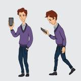 Serviços onlines no smartphone - entretenimento e negócio através das tecnologias da nuvem Imagens de Stock