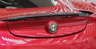 Servië; Belgrado; 2 april, 2017; Sluit omhoog van de rug van Alfa Romeo 4C; Royalty-vrije Stock Foto