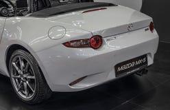 Servië; Belgrado; 2 april, 2017; Terug van wit Mazda mx-5; 5 Royalty-vrije Stock Foto
