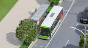 Servië; Belgrado; 24 maart, 2018; Miniatuurmodel van bus op Stock Fotografie