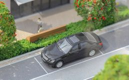 Servië; Belgrado; 24 maart, 2018; Miniatuurmodel van geparkeerde Merc Royalty-vrije Stock Foto