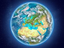 Servië op aarde in ruimte Royalty-vrije Stock Fotografie
