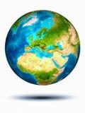 Servië ter wereld met witte achtergrond Royalty-vrije Stock Afbeeldingen