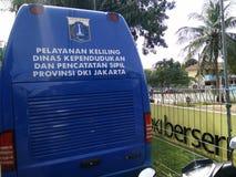 servi?o m?vel para fazer um bilhete de identidade dos childs, Jakarta, Indon?sia 2 de abril de 2019 fotos de stock royalty free