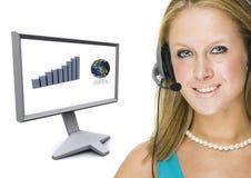 Service à la clientèle et affichage à cristaux liquides photographie stock